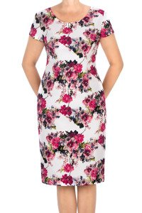 Sukienka Dagon 2631 ecru w wielokolorowe kwiaty bawełniana