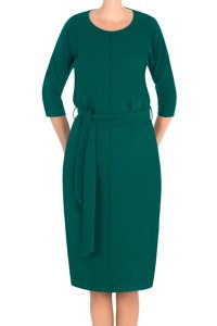 Sukienka J.S.A. Gaja morska zieleń z paskiem do przewiązania